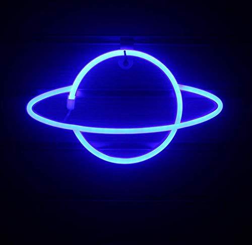 DKZ LED-Planet Neon, Kinder Nachtlicht USB/Batterie Neonlichter Für Raumwand Kinderschlafzimmer Geburtstag Party Bar Strand Hochzeitsdekoration, 30 * 18 cm,Blau