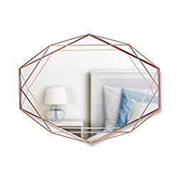 "Umbra Prisma Modern Geometric Shaped Oval Mirror Wall Decor for Bedroom, Bathroom, Living, Dining Room, 22.5 Length x 17 Height x 3.75"" Width, Copper"