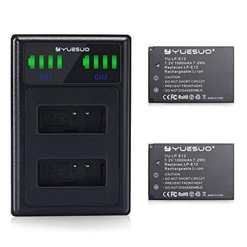 YUESUO Juego de 2 baterías LP-E12 y cargador de batería dual LED para cámaras digitales Canon Rebel SL1, PowerShot SX70 HS, EOS M, EOS M10, EOS M50, EOS M100