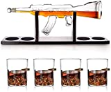 1000Ml M16 Gun Large Decanter Set Bullet Glasses, Elegant Rifle Whiskey Decanter with 4 Bullet Whiskey Glasses And Mohogany Wooden Base, With decanter brush, Great Gifts