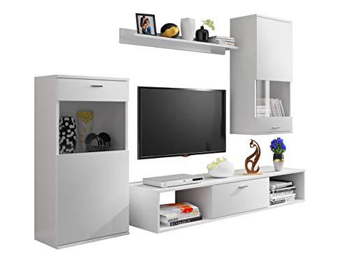 Moderne Wohnwand Cent, Anbauwand, Wohnzimmerschrank, Mediawand, TV Lowboard, Hängevitrine, Vitrine, Wandregal, Fernsehschrank (Weiß.)
