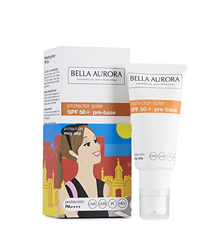 Bella Aurora Crema Facial Protector Solar Pre-Base  Maquillaje Perfeccionadora SPF 50+ Anti-Manchas Protege y Repara No Comedogénico, 30 ml