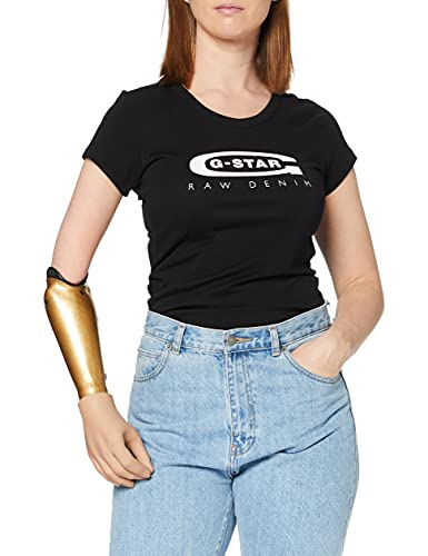 G-STAR RAW Damen T-Shirt Graphic 20 Slim R TWmn Ss, Schwarz (Dk Black Schwarz (Black 6484)), Large