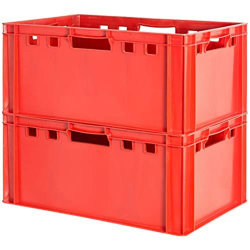 2 Stück E3 Fleischkisten Rot Kisten Eurobox Lebensmittelecht Metzgerkiste Box Aufbewahrungsbox Kunststoff Wanne Plastik Stapelbar Lagerkisten 60 x 40 Kingpower