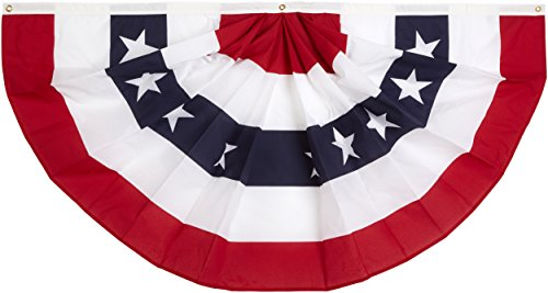 Annin Flagmakers Model 483200 Pleated Fan Bunting Decoration Polyester Cotton Blend, 3 x 6'