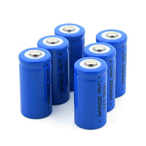 WSXYD 16340 Batería De Litio De 3.7v 2000mah, Celda De Iones De Litio Recargable para Cr123a Cr17345 K123a Vl123a Dl123a 5018lc 6pcs