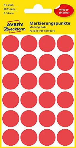 AVERY Zweckform 3595 selbstklebende Markierungspunkte (Ø 18 mm, 96 ablösbare Klebepunkte auf 4 Bogen, runde Aufkleber für Kalender, Planer und zum Basteln, Papier, matt) rot