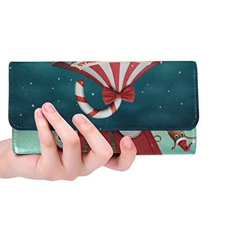 Caramelo único Personalizado del Caramelo de Las Mujeres de la Cartera tríptico Monedero Largo Titular de la Tarjeta de crédito Bolso de la Caja