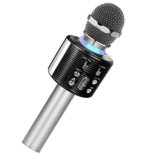 Karaoke Microphone for Kids, Bluetooth Microphone with LED Lights, XIANRUI Portable Karaoke Machine for Kids and Adults, Perfect for Home KTV Birthday Party, Compatible for Android iOS (silvery+black)