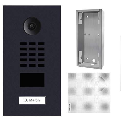 Doorbird – Kit D2101V-RAL7016 + A1061W + SUP-D2101V – Video-Türsprechanlage, RFID + Türklingel + Montagehalterung – Schwarz