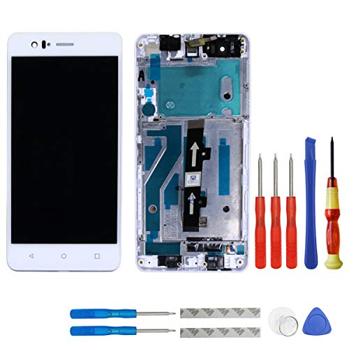 swark Pantalla LCD para BQ Aquaris M5, color blanco, pantalla táctil, digitalizador, cristal de montaje, marco y herramientas