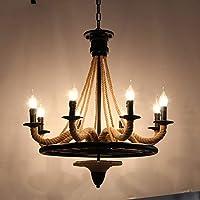 素朴なロープシャンデリア工業用シャンデリアペンダント照明器具クリエイティブ照明レストラン(オールマッチ(光源なし))