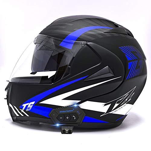 AI FAN Casco Moto Modular Cascos Flip Up Motocicleta ECER 22-05 Aprobado con Doble Visera Anti Niebla HD Bluetooth Incorporado ABS Respirable Adultos