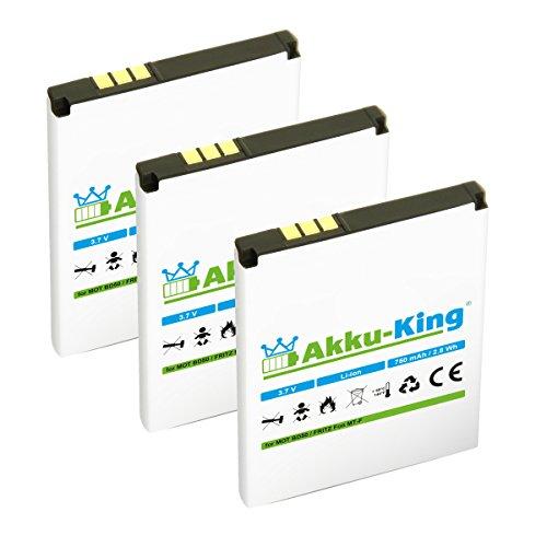 Akku-King 3X Akku kompatibel mit BD50, SNN5796A, 312BAT006 - Li-Ion 750mAh - für AVM Fritz!Fon MTF, M2, C4, C5, Motorola MOTOFONE F3