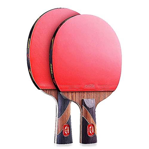 HXFENA 2 Piezas Raquetas de Tenis de Mesa,Palas de Ping Pong Profesional de 4 Estrellas Y 7 Capas Adecuada para NiñOs Estudiantes Y Principiantes/Como se muestra/C