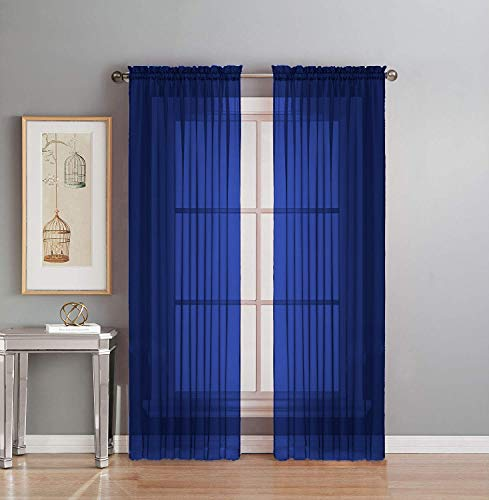 """Interior Trends 2 Piece Fully Stitched Sheer Voile Window Panel Curtain Drape Set (63"""" Long, Royal Blue)"""