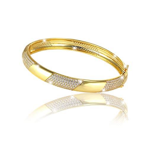 PAVEL´S eleganter Damen Armreif GOLDEN GLAM LIGHT Armband Armspange verschließbar 18 Karat Gold plattiert 5A Zirkonia mit einer edlen Schmuckbox