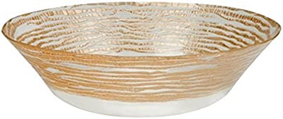 Red Pomegranate Magara Soup Salad Bowl Clear Gold 7-Inch