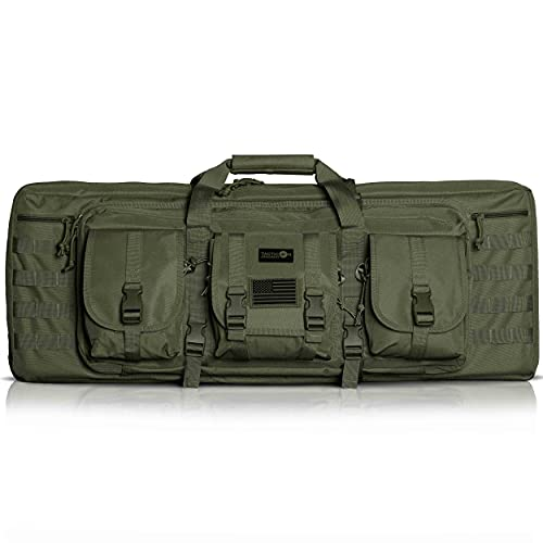 Double Rifle Bag | 2 Rifles + 2 Pistols Tuckable Backpack Straps | Combat Veteran Owned Company | Waterproof Padded Lockable Carbine or Long Gun Case (Olive Drab Green, 42' x 12' Double Rifle Case)