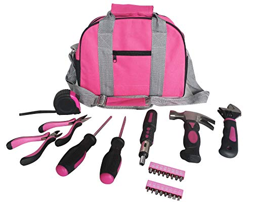 Señoras Pink Tool Kit bolsa de herramientas DIY conjunto incluye Martillo Rosa, Rosa, Rosa alicates destornilladores en estuche rosa 25pcs