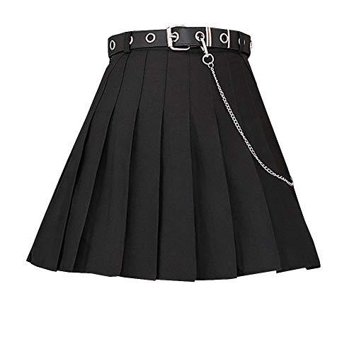 E-girl Falda plisada E1836 para mujer, Negro , 40