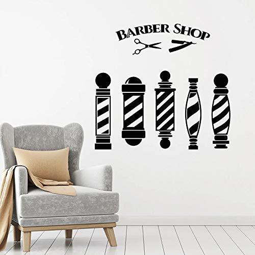 Peluquería calcomanía de pared tijeras herramienta de corte de pelo gente peluquería arte diseño de interiores decoración ventanas y puertas pegatinas de vinilo papel pintado42x45 cm