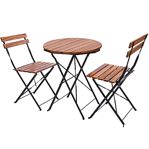 PASAMIC Premium Steel Patio Bistro Set, 3 Piece Folding Outdoor Patio Furniture Sets, Patio Set of Foldable Patio Table and Chairs, Indoor/Outdoor Furniture Set