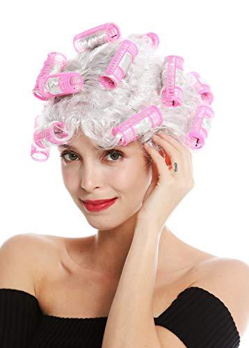 WIG ME UP - 4204-P309 Fasching Karneval Halloween Perücke Damenperücke Hausfrau Lockenwickler grau weißgrau hellgrau Trashy Drag Queen