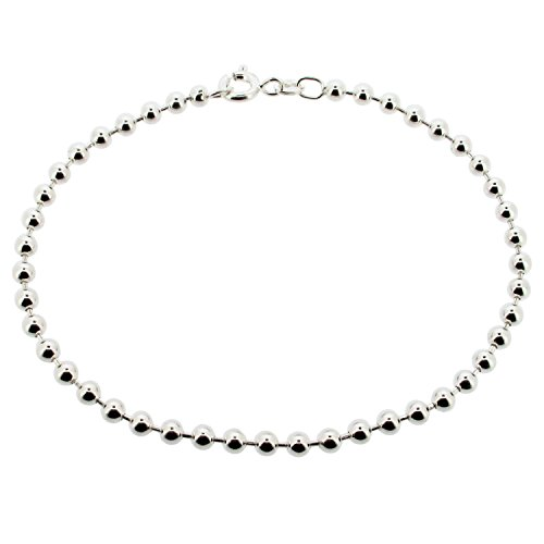 CJoL - Sterling Silver Ladies 11' (28cm) 3mm Wide Bead / Ball Anklet In Gift Box - 6.6g
