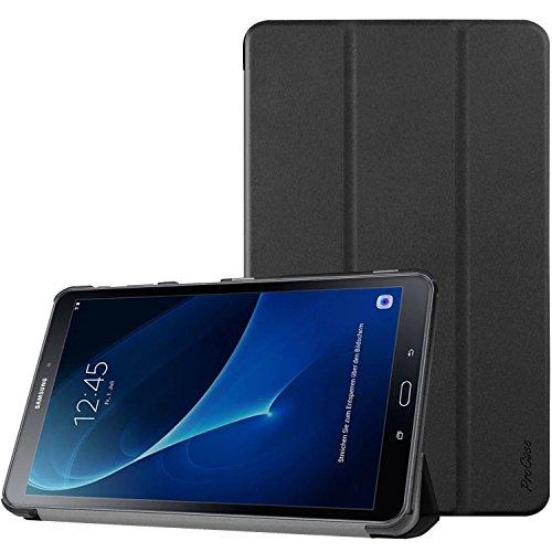 ProCase Hülle für Galaxy Tab A 10.1, Slim Smart Cover Ständer Folio Hülle für Galaxy Tab A 10.1 Zoll Tablet SM-T580 T585 2016 -Schwarz