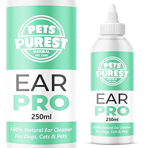 Pets Purest 100% Natural Limpiador de Oidos para Perros (250ml) con fórmula antihongos Repelente de ácaros picazón, Olor a mugre y Oreja desapareció en 2-3 días para Perros, Gatos y Mascotas