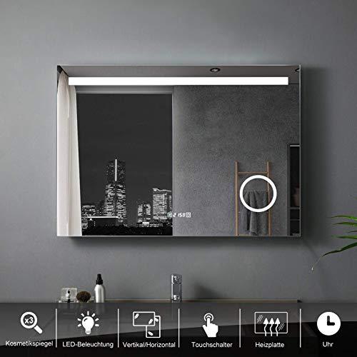LISA Badspiegel 120 x 80 cm mit Beleuchtung LED Rechteckig Badezimmer Wandspiegel Antibeschlage Lichtspiegel mit Touchschalter IP44 Kaltweissen