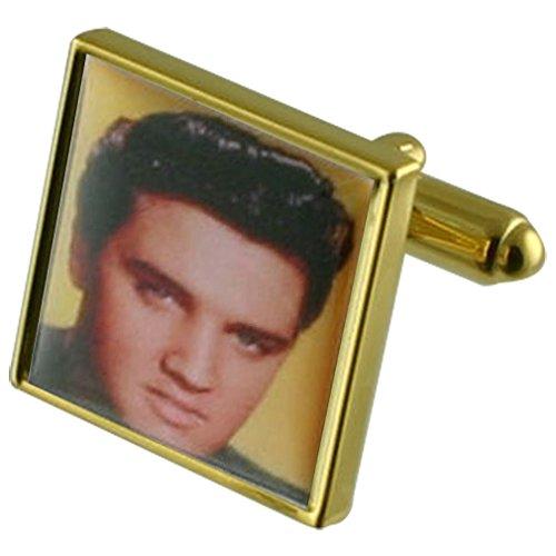 Select Gifts Elvis Musik Goldene Manschettenknöpfe personalisiert graviert box