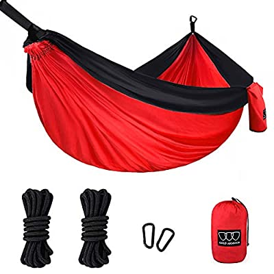 Gold Armour Camping Hammock, Double & Single Parachute Hammock with Ropes, USA Brand Lightweight Portable Mens Womens Kids, Camping Accessories Gear (Red and Black, 1 Person)