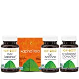 Healthy Cholesterol Set - Cholesterol Protection (60 Tablets), BP Balance (60 Tablets), Liver Balance (60 Tablets), Organic Stimulating Kapha Tea (16 Tea Bags)