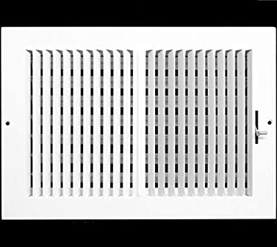 """12"""" X 10"""" 2-Way-Vertical AIR Supply Grille - Vent Cover & Diffuser - Flat Stamped Face - White [Outer Dimensions: 13.75""""w X 11.75""""h]"""