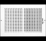 12'w X 8'h 2-Way Vertical AIR Supply Grille - Duct Cover & Diffuser - Flat Stamped Face - White [Outer Dimensions: 13.75'w X 9.75'h]