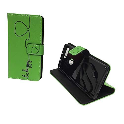 König Design Handyhülle Kompatibel mit Huawei Honor 8 Handytasche Schutzhülle Tasche Flip Hülle mit Kreditkartenfächern - Be Happy Design Grün