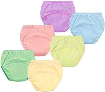 Pantalones de Entrenamiento para Bebé, Morbuy Reusable Calzones de Entrenamiento Ropa Interior de Entrenamiento Bragas de Aprendizaje para Niño Niña, 6 Piezas (90cm/13KG,Color sólido)