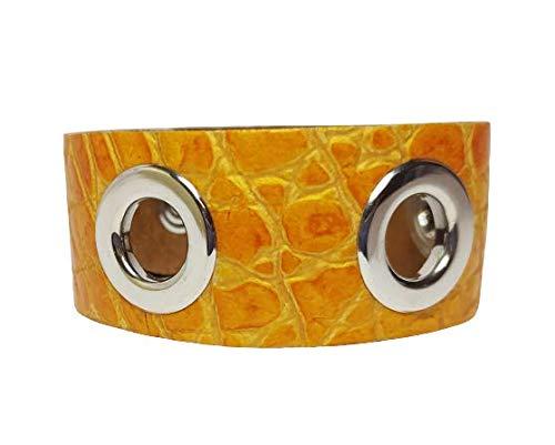Pulsera para mujer modelo Trip Hop con ojales. Pulsera de piel y metal con caja de regalo. Diseño limpio con cierre de botón. amarillo