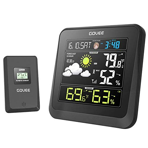 Govee Wireless Weather Station, Color LCD Display, Weather Forecast with Outdoor Sensor, Digital Temperature and Humidity Gauge with Alarm Clock, Moon Phase, Backlight, Snooze Mode