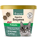 NaturVet – Digestive Enzymes for Cats Plus Probiotics – 60 Soft Chews – Helps Support Diet Change & A Healthy Digestive Tract – Aids in The Absorption of Vitamins & Minerals – 30 Day Supply
