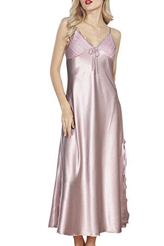 Dolamen Damen-Schlafanzug, weich und seidig, luxuriös und sexy, Spitze, Nachtwäsche mit Spaghettiträger, langes Nachhemd Gr. XXXL, violett