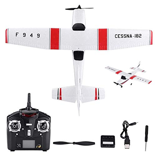 UIGJIOG RC Airplane F949 Foam EPP RC Drone, Cessna 182 Model 2.4G 3 Channel Remote Control Airplane Glider Aircraft, Best Gift for Kids and RC Plane Lovers