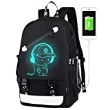 FLYMEI Anime Luminous Backpack for Boys, 15.6'' Laptop Backpack with USB Charging Port, Bookbag for School with Anti-Theft Lock, Black Travel Backpack Cool Back Pack for Work