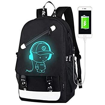 FLYMEI Anime Luminous Backpack for Boys 15.6   Laptop Backpack with USB Charging Port Bookbag for School with Anti-Theft Lock Black Teens Backpack Cool Back Pack for Work