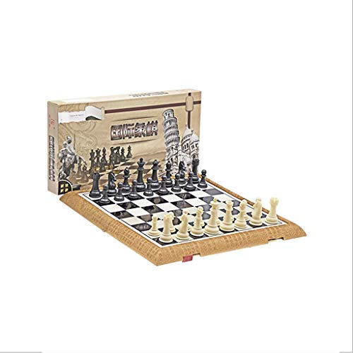 LICHUAN Juego de ajedrez plegable de plástico estándar de viaje internacional juego de tablero de ajedrez con piezas magnéticas de ajedrez para juegos de mesa de fiesta familiar (tamaño mediano)