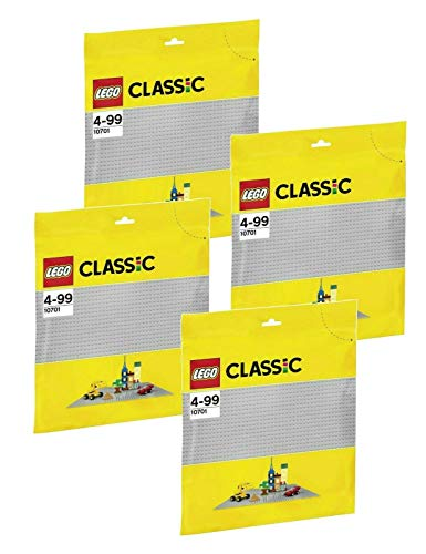 LEGO Juego: 4 placas de construcción 10701, color gris.