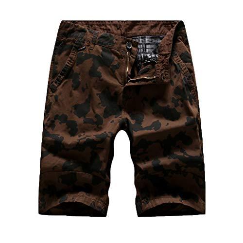 Herren Camouflage Arbeitshose Sport Sommer Kurze Hosen Tasche Freizeitshorts Shorts Bermuda Chino Bermuda Cargo Hawaii Strand Stretch Schnel Jeans (30, Kaffee)