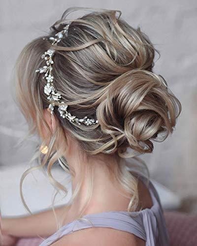 Unicra Brautschmuck Hochzeit Haarschmuck Weinrebe Silber Blume Kopfschmuck Kristall Braut Haarschmuck für Frauen und Mädchen